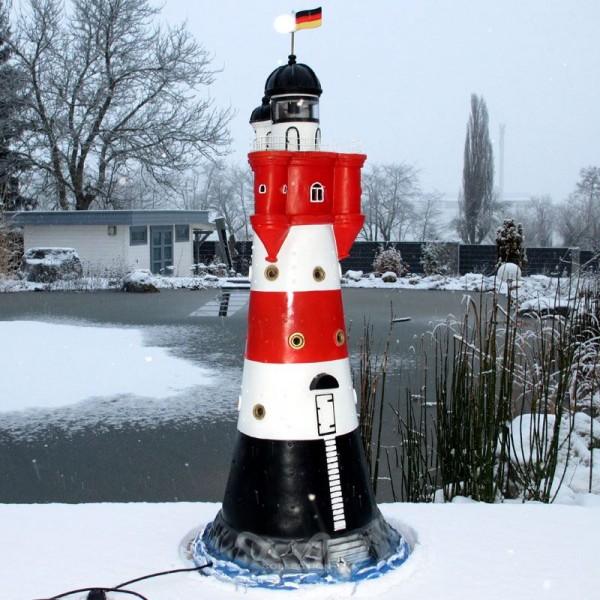 "Leuchtturm ""Roter Sand"" 120 cm rot-weiß - Fuß: 50 cm"
