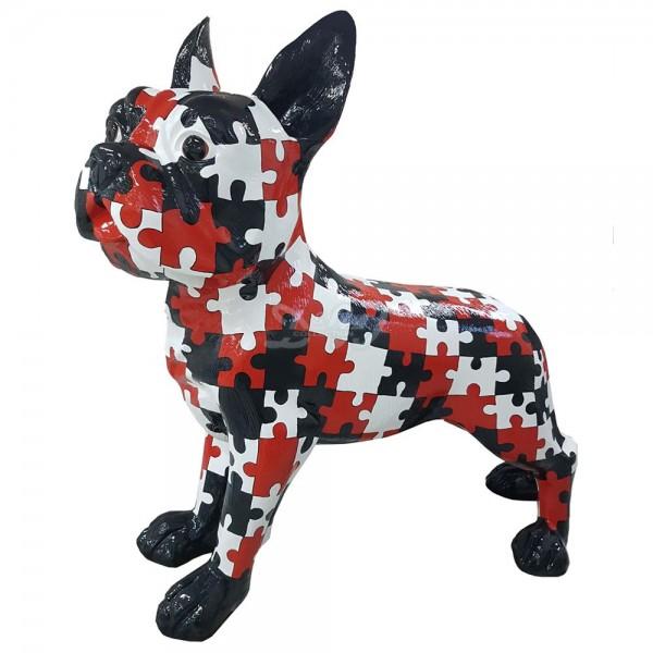 """französische Bulldogge Hund mit Kunstbemalung """"Puzzle"""" (überlebensgroß)"""