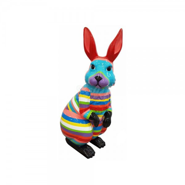 """Osterhase 110 cm mit Kunstbemalung """"bunte Streifen in Pastellfarben"""" hockend (groß) Hase"""