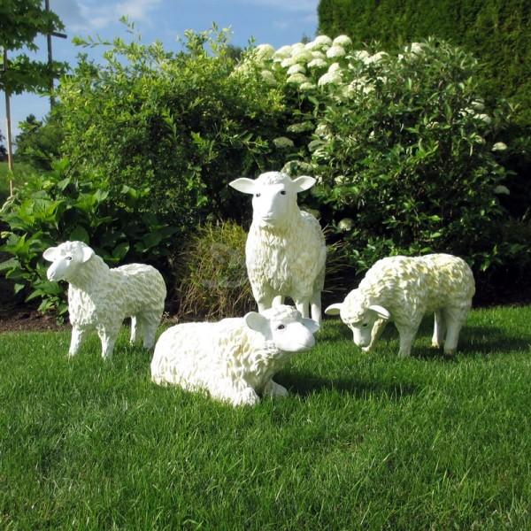 Schaffamilie weiß strukturiert Patina 4 Schafe groß & klein