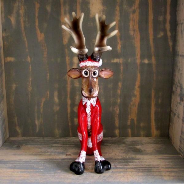 """Elch / Rentier Rudi sitzend Weihnachten mit Kunstbemalung """"Weihnachtsmann"""" (klein)"""