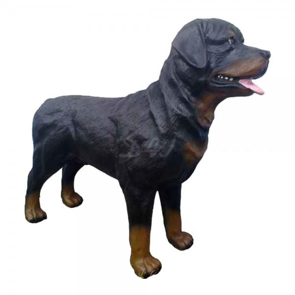 Rottweiler Hund stehend schwarz (lebensgroß)