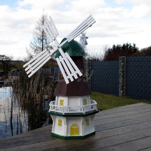 """Windmühle """"Nancy"""" mit Galerie grün-braun-weiß - Kopfhöhe 80 cm"""