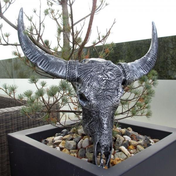 Schädel Kopf Bulle Büffel Stier Geweih Skelett schwarz-silber