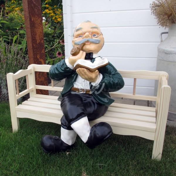 D&W Collection Deko Werbe Figur Oma Opa Großeltern Menschen Holz Bank Garten Dekoration Werbung günstig kaufen