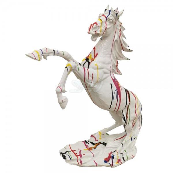 D&W Collection Deko Werbe Tier Figur Pferd steigend Kunstbemalung weiß mit bunten Farbläufern Horse Dekoration Garten Werbung günstig kaufen