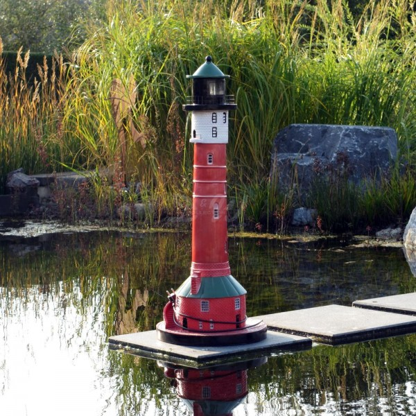 "Leuchtturm ""Wangerooge"" 95 cm rot-weiß-grün - Fuß: 35 cm"
