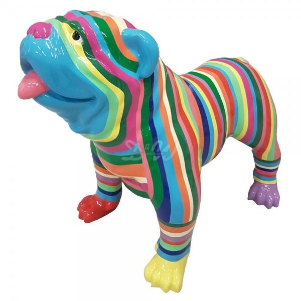 """englische Bulldogge Hund groß mit Kunstbemalung """"bunte Streifen in Pastellfarben"""""""