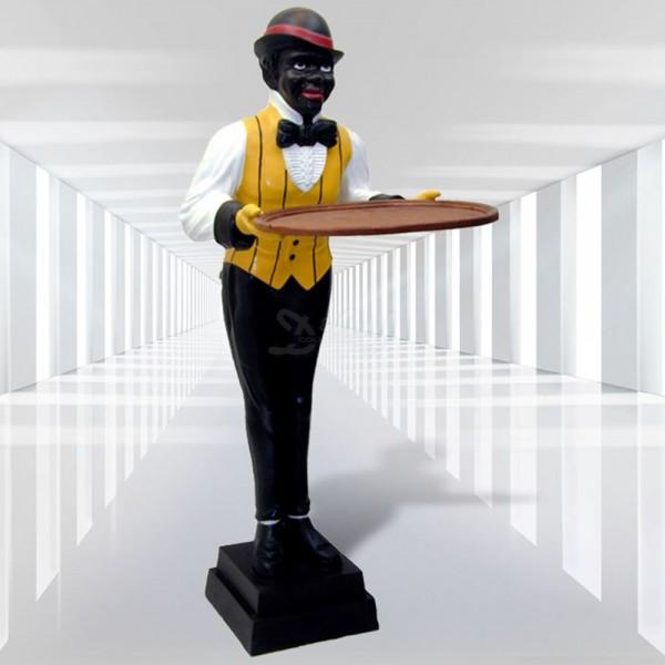 Butler / Kellner mit gelber Weste und Tablett (lebensgroß)