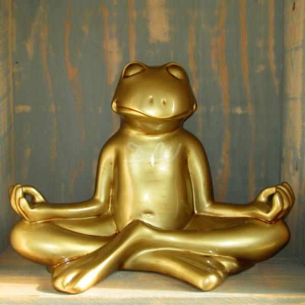 D&W Collection Deko Werbe Tier Figur Yoga Frosch gold Meditation Feng Shui Garten Dekoration günstig kaufen