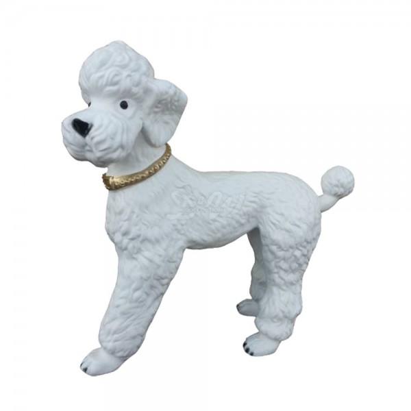 D&W Collection Deko Werbe Figur Hund Königspudel stehend weiß mit Halsband lebensgroß Werbung