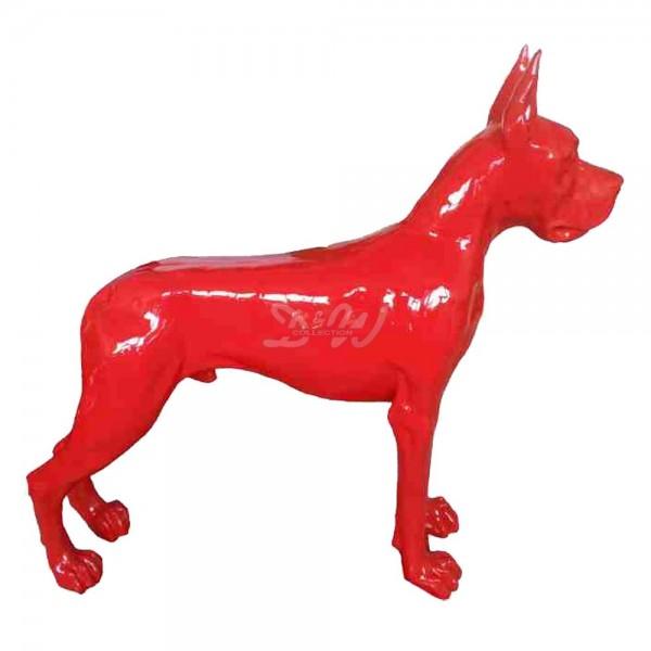 Deutsche Dogge Hund stehend rot (lebensgroß)