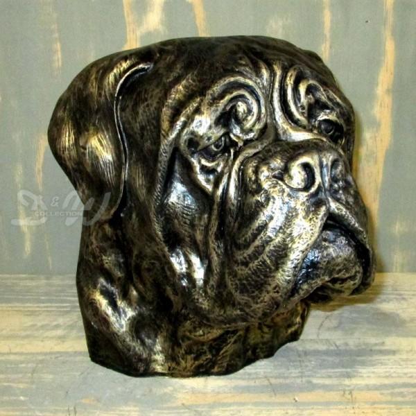 Bulldogge Hundekopf Büste bronze Patina (lebensgroß)