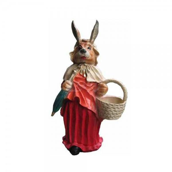 Osterhase / Osterhasenfrau mit Kleid und Korb 71 cm (klein)