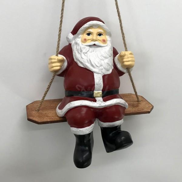 D&W Collection Deko Werbe Figur Weihnachtsmann Nikolaus auf Schaukel Advent Weihnachts Dekoration Garten Werbung