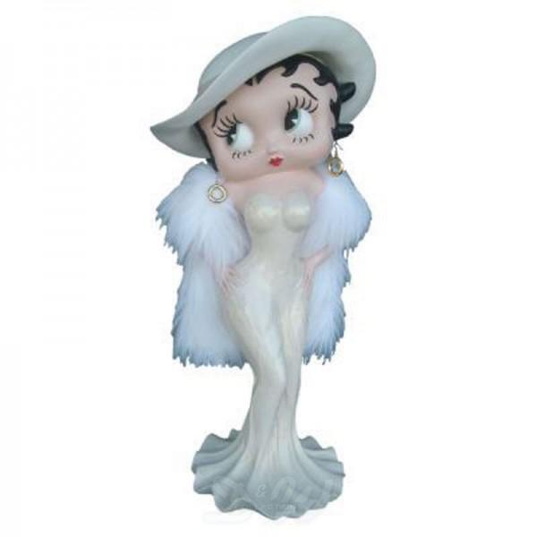 Betty Boop im sexy Kleid mit Hut creme und Federboa (groß)