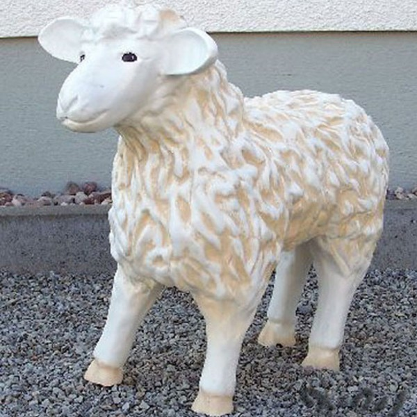Schaf weiß strukturiert Patina (klein) Kopf geradeaus