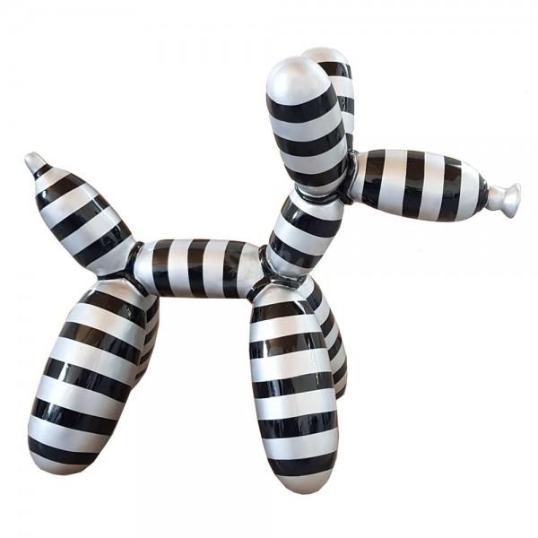 D&W Collection Deko Werbe Figur Hund Ballon Luftballon mit Kunstbemalung Streifen schwarz silber groß Dog Garten Dekoration Werbung Kunst günstig kaufen