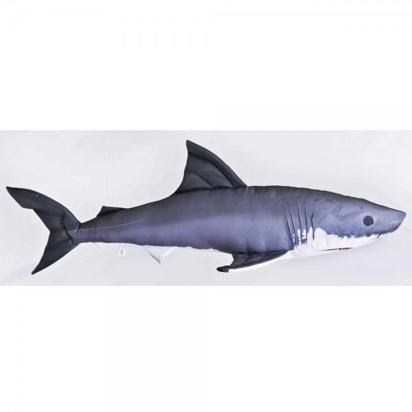 D&W Collection Deko Werbe Figur Fischkissen Hai Shark Film weiß Kuschelkissen Geschenk Angler Kinder Angel Sport