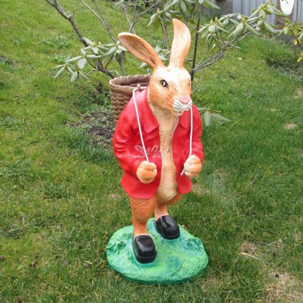 Osterhase mit Korb auf Rücken - Jacke rot (groß) Hase