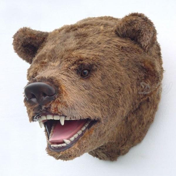 Bären-Kopf mit Fellimitation (lebensgroß)