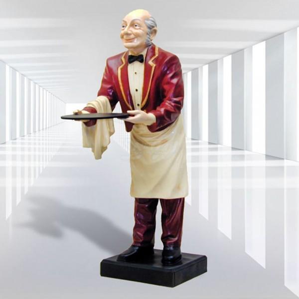 Butler / Kellner mit Tablett rote Jacke (groß)