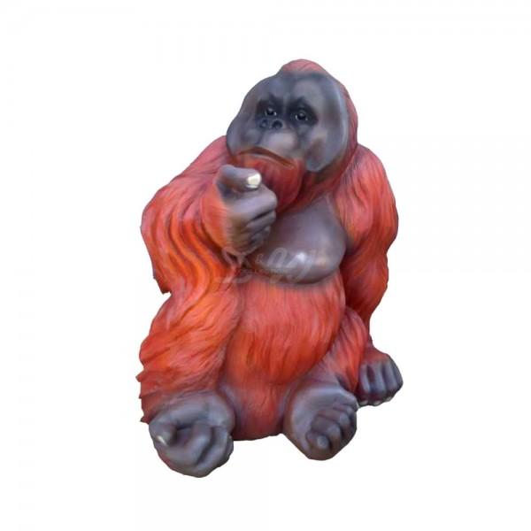D&W Collection Deko Werbe Monkey Figur Affe Orang Utan Männchen sitzend mittel Zoo Tierpark Garten Dekoration Werbung günstig kaufen