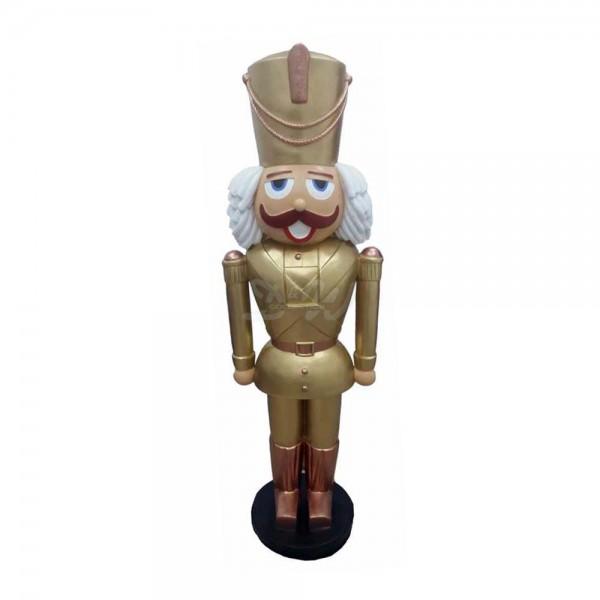 Nussknacker / Spielzeugsoldat mit Bart (lebensgroß) goldene Uniform