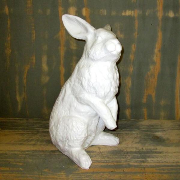 Osterhase aufrecht stehend weiß lackiert Hase