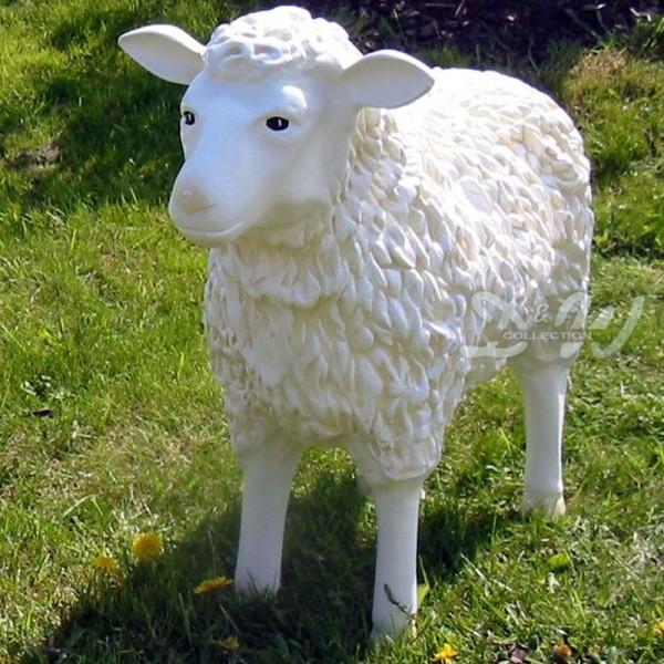 Schaf weiß strukturiert Patina (groß) Kopf geradeaus