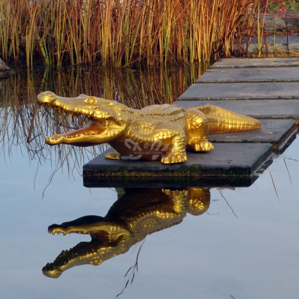 Alligator Krokodil 115 cm gold