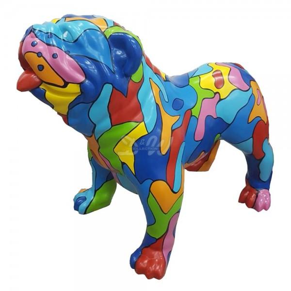 """englische Bulldogge Hund groß mit Kunstbemalung """"bunte Flecken"""""""