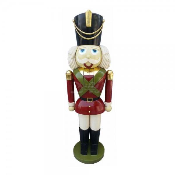 Nussknacker / Spielzeugsoldat mit Bart (lebensgroß) bunte Uniform