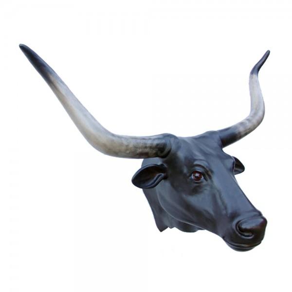 Longhorn-Bullenkopf (lebensgroß) schwarz