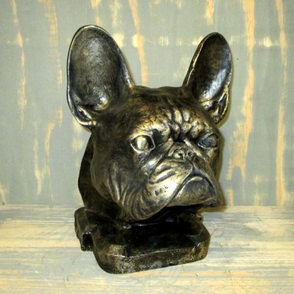 französische Bulldogge Hundekopf Büste bronze Patina (lebensgroß)