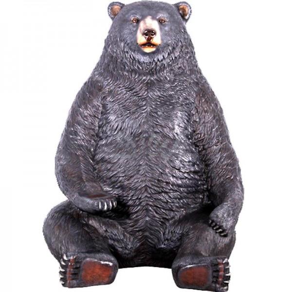 Grizzlybär Bär sitzend schwarz (überlebensgroß)