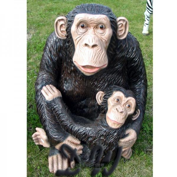 Schimpanse Affe sitzend mit Baby (lebensgroß)