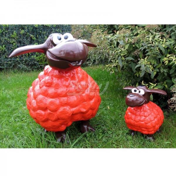 Wölkchen Schafe 2er Set rot mit braunem Kopf