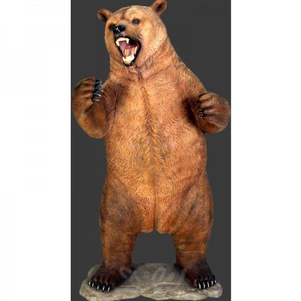 Grizzlybär Bär aufrecht stehend brüllend (überlebensgroß)