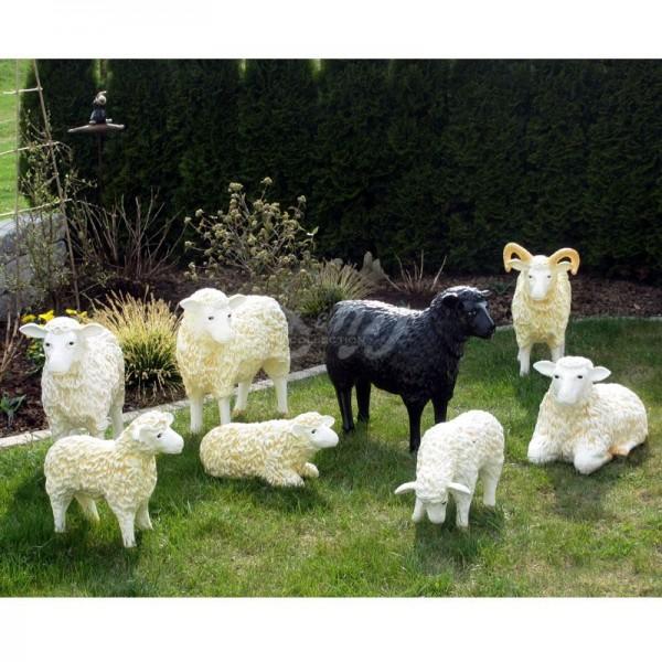 Schaffamilie weiß & schwarz strukturiert Patina 7 Schafe & 1 Schafbock