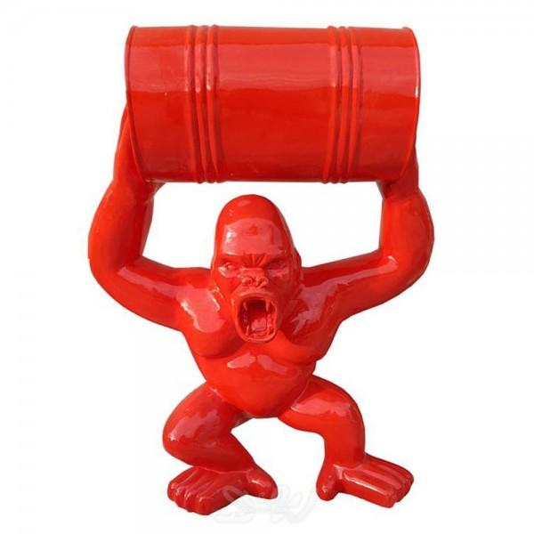 D&W Collection Deko Werbe Figur Gorilla Monkey Affe mit Tonne Fass rot Lack Zoo Tierpark Garten Dekoration Film Kino Werbung günstig kaufen