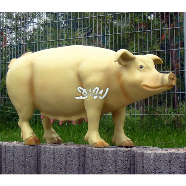 Schwein - Hausschwein (lebensgroß) natürliche Bemalung mit Zitzen