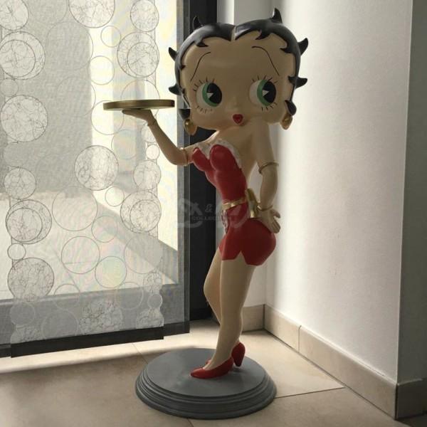 D&W Collection Deko Werbe Figur Betty Boop Kellnerin rotes Kleid mit Tablett Kino Film Werbung günstig kaufen