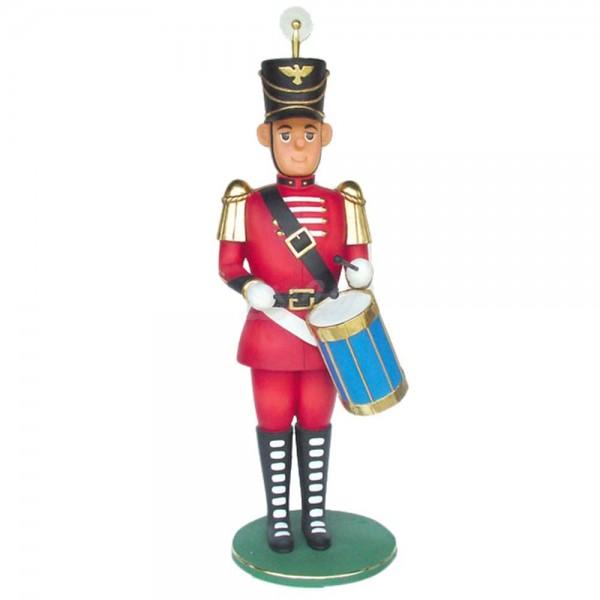 Nussknacker / Spielzeugsoldat rot mit Trommel (überlebensgroß)