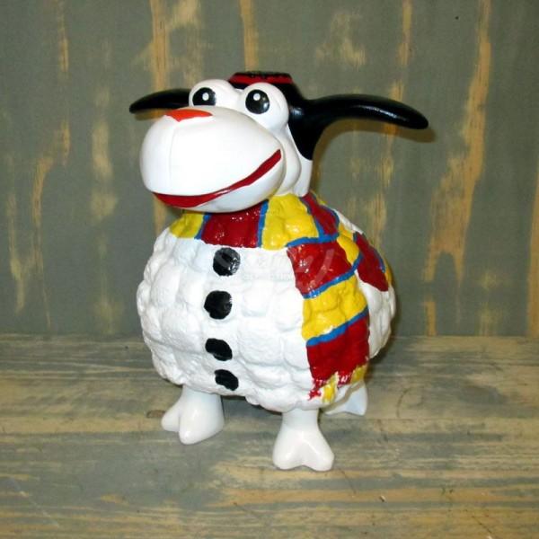 Wölkchen Schaf mit Kunstbemalung als Schneemann (klein)