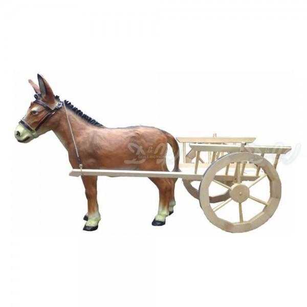 Esel stehend braun (groß) mit Leiterwagen