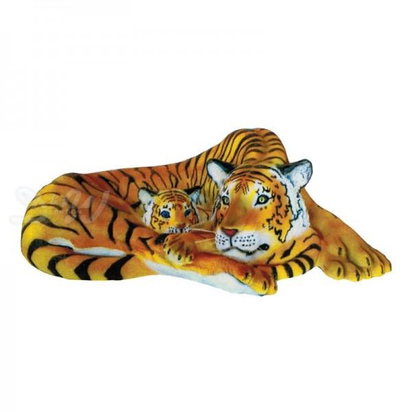Tiger mit Baby liegend braun (lebensgroß)