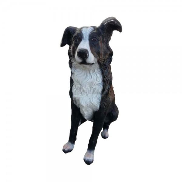 D&W Collection Deko Werbe Figur Hund Border Collie sitzend lebensgroß Werbung