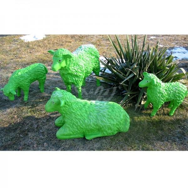 Schaffamilie grün strukturiert 4 Schafe groß & klein