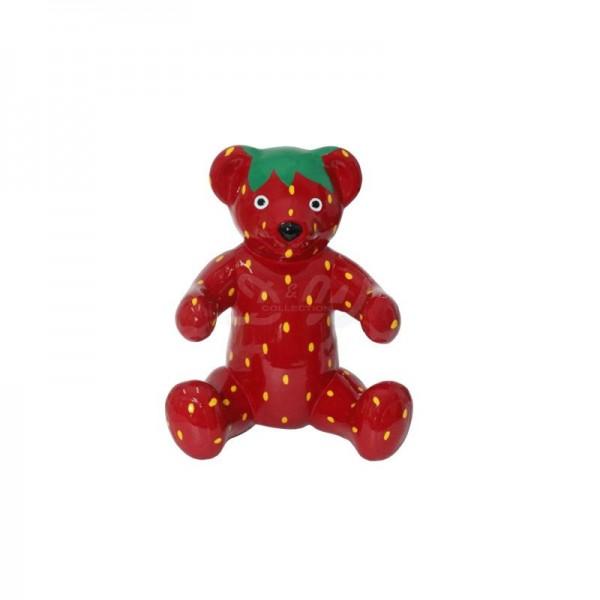 """Bär sitzend mit Kunstbemalung """"Erdbeere"""" (klein)"""